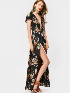 Robe Maxi Cache Coeur Florale Avec Fente Haute - Floral L