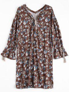 Tassels Floral Lace Up Maxi Robe - Floral L