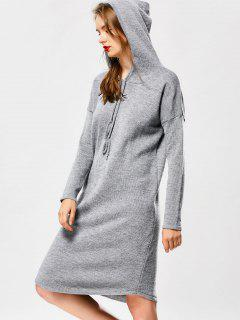 Hooded Drawstring Sweater Dress - Gray