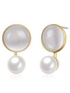 Statement Faux Opal Pearl Round Earrings - Golden