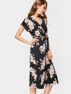 Capri Floral Belted Wide Leg Jumpsuit - Floral L