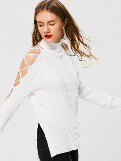 Lace Up High Neck Sweater - White