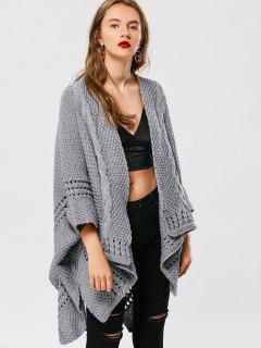 Asymmetric Cable Knit Cardigan - Gray
