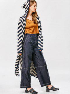 Hooded Zig Zag Side Slit Cardigan - Stripe