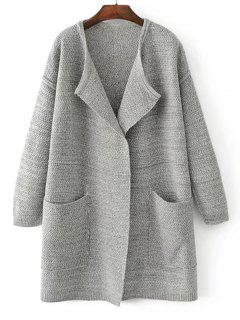 Open Front Heathered Knit Cardigan With Pockets - Light Gray