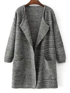 Open Front Heathered Knit Cardigan With Pockets - Deep Gray
