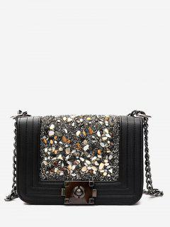 Chain Faux Leather Stitching Crossbody Bag - Black