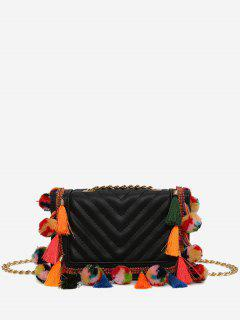 Tassels Stitching Chain Crossbody Bag - Black