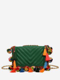 Tassels Stitching Chain Crossbody Bag - Green