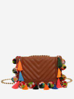 Tassels Stitching Chain Crossbody Bag - Brown