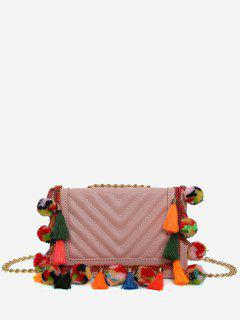 Tassels Stitching Chain Crossbody Bag - Leather Pink