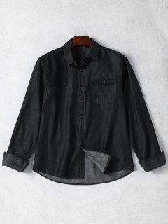 Pocket Single Breasted Denim Shirt - Black M