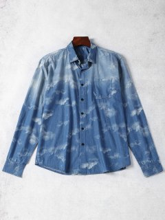 Pocket Tie Dyed Denim Shirt - Blue L