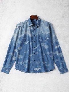 Taschen-Bindung Gefärbtes Denim-Hemd - Blau L