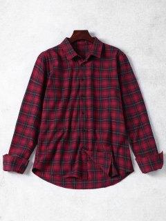 Chemise Boutonnée à Carreaux - Rouge M