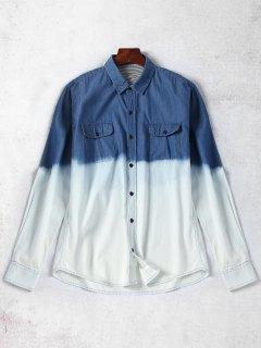 Pockets Ombre Denim Shirt - Blue M
