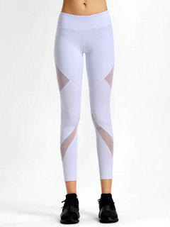 Mesh Stretchy Workout Leggings - White S