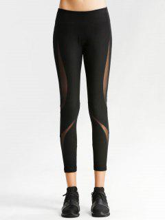 Workout Mesh Panel Skinny Leggings - Black L