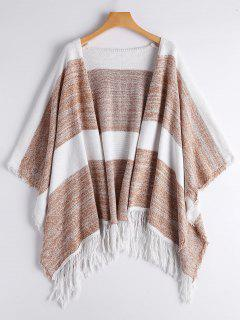 Two Tone Cape Tassels Open Front Cardigan - Stripe