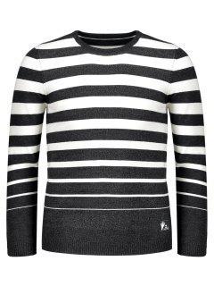 Crew Collar Stripe Sweater - Black 2xl