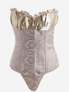 Jacquard Lace-up Strapless Bra Corset - Champagne Gold S