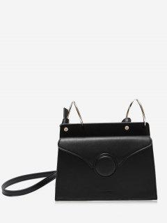 Faux Leather Metal Rings Crossbody Bag - Black