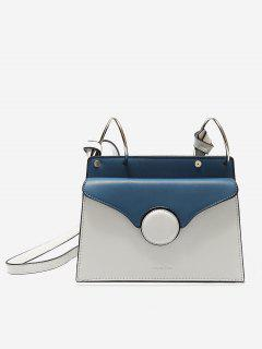 Faux Leather Metal Rings Crossbody Bag - White