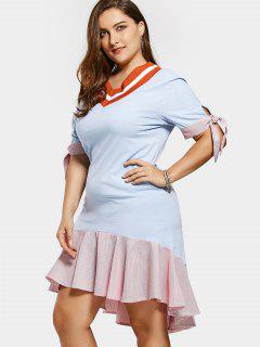 High Low Striped Plus Size Ruffles Dress - Light Blue 5xl