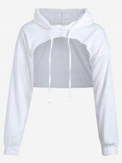 Cut Out Drawstring Crop Hoodie - White S
