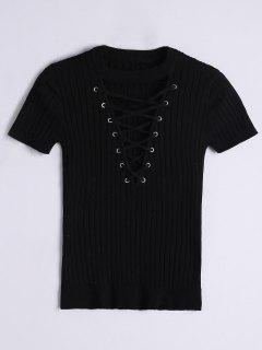 Ribbed Knit Lace Up Top - Black S