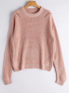 Crew Neck Loose Chunky Sweater - Nude Pink