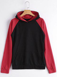 Casual Two Tone Hoodie - Black And Red S