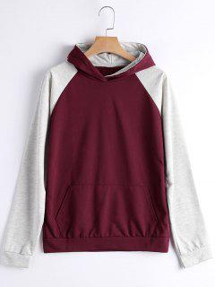 Casual Two Tone Hoodie - Wine Red S
