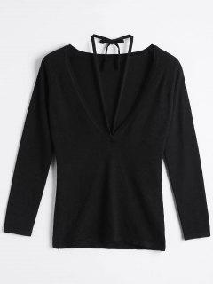 Lace Up Scoop Neck Knitwear - Black S
