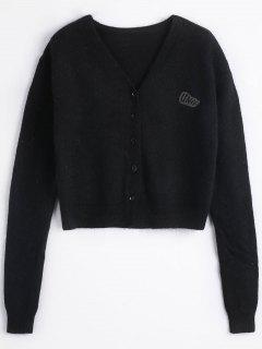 Knitted Button Up Cardigan - Black M