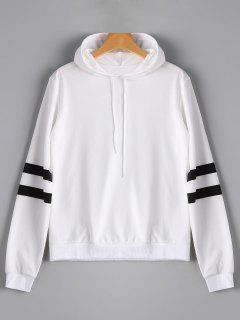 Casual Stripes Panel Hoodie - White S