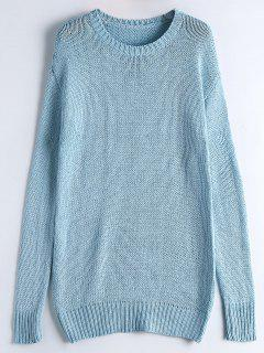 Long Sleeve Casual Chunky Sweater - Light Blue