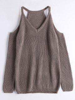 V Neck Chunky Cold Shoulder Sweater - Greyish Brown