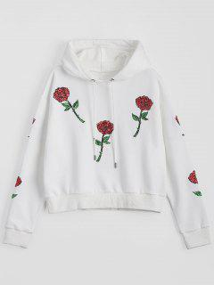 Sequins Floral Patched Drawstring Hoodie - White S