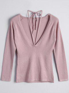 Encaje Hasta Scoop Neck Knitwear - Rosado M