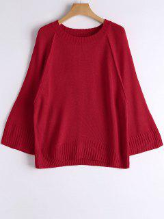 Loose Casual Raglan Sleeve Sweater - Red