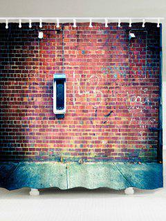 Bricks Wall Printed Waterproof Shower Curtain - Gold Brown W79 Inch * L71 Inch