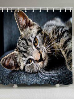 Cute Cat Pattern Waterproof Shower Curtain - Dark Grey W79 Inch * L71 Inch