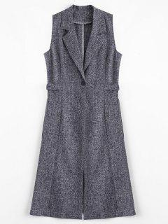 Metal Rings High Slit Long Waistcoat - Cadetblue/gray L