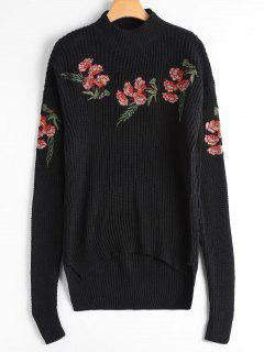 Embroidered Chunky High Low Sweater - Black
