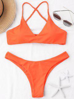 Braided Straps Cross Back Bikini Set - Orange M