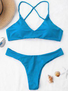 Braided Straps Cross Back Bikini Set - Blue S