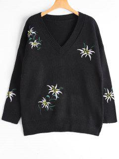 Drop Shoulder Embroidered V Neck Sweater - Black