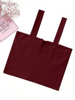 Casual Straps Crop Top - Burgundy S