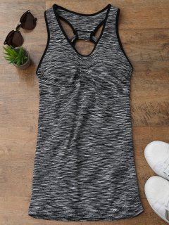 Cutout Heathered Sports Tank Top - Black